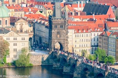 Praga ponte Carlo, orologio astronomico, fiume moldava, castello, cattedrale